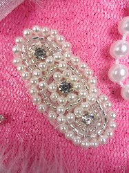 JB139 Petite Baby Rhinestone Applique Silver Pearl  Beaded