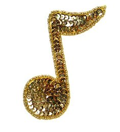 JB141 Gold Applique Music 1/4 Note Sequin Beaded 3.75""