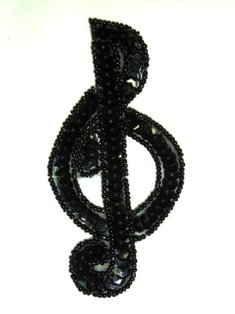 JB142 Music Note Applique Black G Clef Sequin Beaded 3.75""