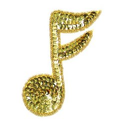 JB143 Gold Applique Music Note Sequin Beaded 3.75""