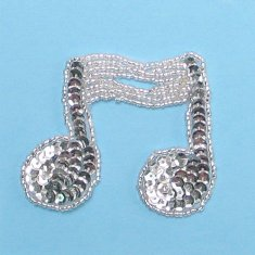 JB144 Music Note Applique Silver Double Sequin Beaded 3""