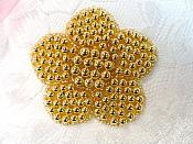 "Flower Applique Gold Beaded Floral 2.5"" (JB151S)"