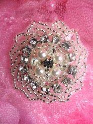 "JB152 Victorian Rhinestone Applique Pearl Silver  Beaded 1.5"""