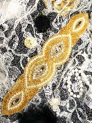 "JB16 Gold Beaded Pearl Crystal Rhinestone Applique  8.75"""