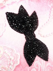 JB163 Designer Black Beaded Bow Applique DIY Hot Fix 6""