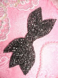 JB163 Designer Gunmetal Pewter Beaded Bow Applique DIY Hot Fix 6""