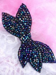 JB163 Designer Peacock Beaded Bow Applique DIY Hot Fix 6""