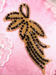 JB167 Designer Black And Gold Beaded Applique 6""