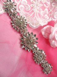 """JB176 Crystal Rhinestone Applique Silver Floral 8"""""""