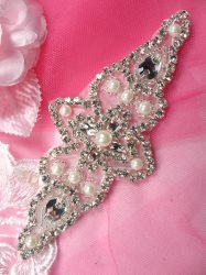 JB178 Crystal Rhinestone Applique Silver Beaded w Pearls 5.75""