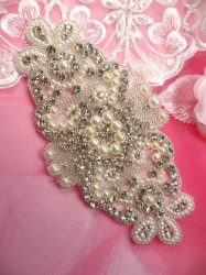 JB183 Crystal Rhinestone Applique Silver Beaded w Pearls 7""