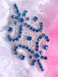 """JB201 Applique Turquoise Rhinestones Silver Beaded Victorian Motif Patch 4"""""""