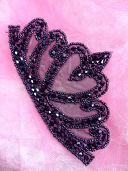 """JB205 Glass Beaded Navy Blue Crown Applique Patch 5.5"""""""