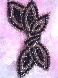 JB211 Glass Beaded Black Gold Applique Patch 5""