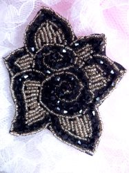 JB216 Glass Beaded Black Gold Floral Applique Patch 4.5""