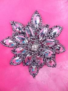 "JB219 Metallic Gunmetal Snowflake Jewel Beaded Applique 3"""