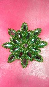 "JB219 Applique Green Snowflake Jewel Beaded 3"""