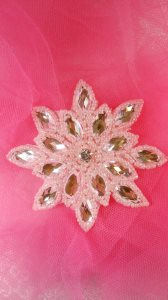 JB219 Pink Snowflake Jewel Beaded Applique 3""