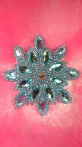 "JB219 Applique Turquoise Snowflake Jewel Beaded 3"""