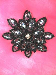 JB219 Black Zebra Snowflake Jewel Beaded Applique 3""