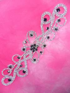 JB225 Silver Smoke Crystal Rhinestone Applique Embellishment 7.75""
