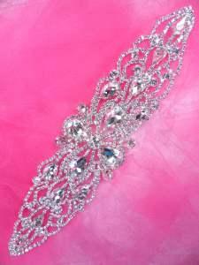 """JB228 Silver Crystal Rhinestone Applique Embellishment 8.5"""""""