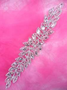"""JB230 Silver Crystal Rhinestone Applique Embellishment 10.25"""""""