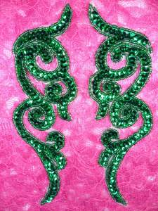 "JB233 MIRROR PAIR Green Scroll Designer Sequin Appliques 7"""