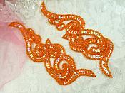 "Sequin Appliques Orange Holographic Beaded Mirror Pair Iron On Patch 7"" (JB233X)"