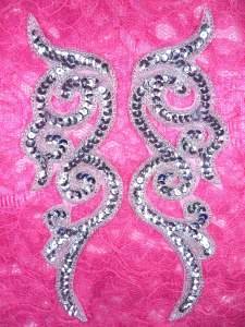 JB233 MIRROR PAIR Silver Scroll Designer Sequin Appliques 7""