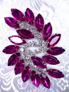 """JB234 Fuchsia Marquise Swirl Crystal Rhinestone Applique Embellishment 2.5"""""""