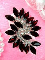"""JB234 Glass Rhinestone Applique Garnet Crystal Marquise Swirl 2.5"""""""