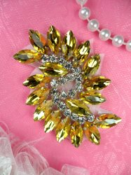 JB234 Glass Rhinestone Applique Gold Crystal Marquise Swirl 2.5""