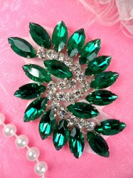 JB234 Glass Rhinestone Applique Green Crystal Marquise Swirl 2.5""