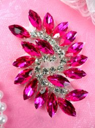 JB234 Glass Rhinestone Applique Hot Pink Crystal Marquise Swirl 2.5""