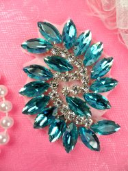 JB234 Glass Rhinestone Applique Turquoise Crystal Marquise Swirl 2.5""