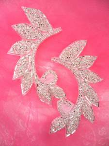 JB238 Designer Silver Beaded Applique Mirror Pair DIY Hot Fix 4.25""