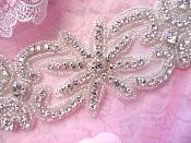 "Rhinestone Applique Crystal Glass Silver Beads 7.5"" (JB265)"