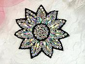 "Crystal AB Rhinestone Applique Black Beads Floral Bridal Star Sash Motif 3.75"" (JB266)"