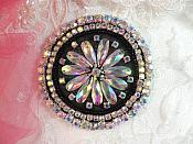 "Black Backing Crystal AB Rhinestone Applique Black Beads Round Floral Center Bridal Motif 3.25"" (JB267)"