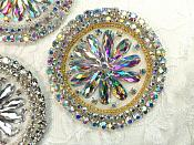 "Crystal AB Rhinestone Applique Gold Beads Round Floral Center Bridal Motif 3.25"" (JB267)"
