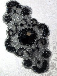 JB35 Emma Black Silver Beaded Sequin Applique 5.75""