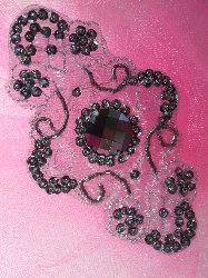 JB35 Emma Gunmetal Beaded Sequin Applique 5.75""