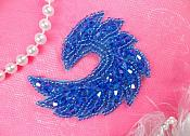 "Curl Applique Designer Glass Blue AB Beaded Figure Skating Patch 3"" Hot Fix Iron on (JB60-blab)"