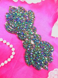 "JB67 Green Peacock AB Aurora Borealis Designer Glass Beaded Applique 5.5"" Hot Fix Iron on"