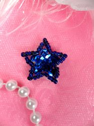 JB70  Blue Star One Inch Beaded Sequin Applique 1""