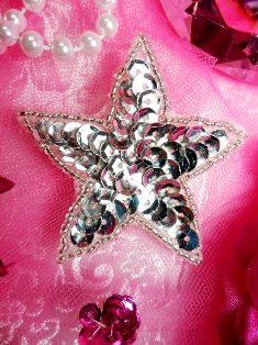 JB70  One Inch Silver Star Beaded Sequin Applique