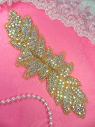 JB83 Gold Beaded Aurora Borealis Crystal AB Rhinestone Applique 7""
