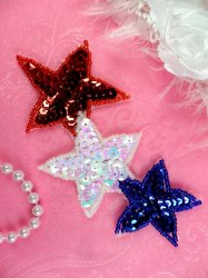 JB87 Triple Star Applique Patriotic Beaded Sequin Red Blue White AB Iron On 5.25""