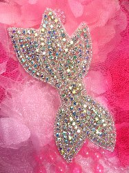 JB88 Bridal Bow Aurora Borealis Crystal AB Rhinestone Silver Beaded Applique 6""